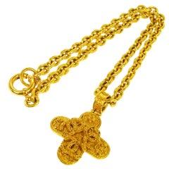 Chanel Gold Textured Cross Charm CC Evening Drop Link PendantChain Necklace