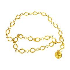 Chanel Gold Textured Metal Coin Medallion Chain Waist Belt