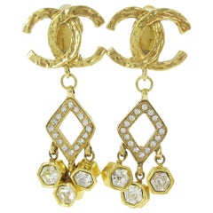 Chanel Gold Textured Rhinestone Gold CC Charm Evening Dangle Earrings in Box