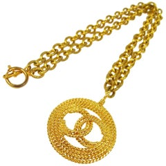 Chanel Gold Textured Round Charm CC Evening Drop Drop Chain Necklace