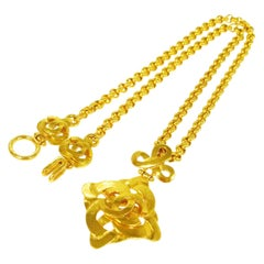 Chanel Gold Textured Round Charm CC Evening Drop Link Chain Necklace