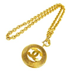 Chanel Gold Textured Round Coin Charm CC Evening Drop Link  Chain Necklace