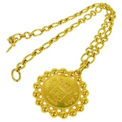 Chanel Gold Pendant Round Crown Charm CC Evening Drop Link Chain Necklace