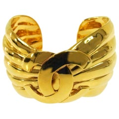 Chanel Gold Textured Thick CC Charm Evening Statement Cuff Bracelet