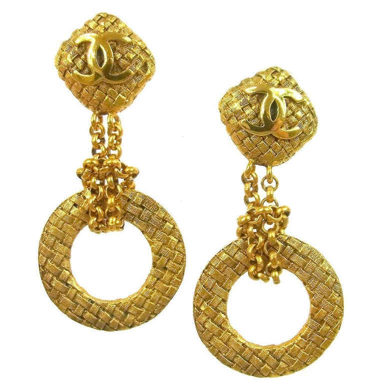 Chanel Gold Textured Two Tier Cushion Chandelier Hoop Evening Earrings In Box For