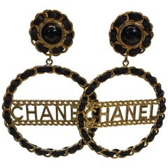 """Chanel Gold Tone and Black """"Chain"""" Clip On Earrings"""