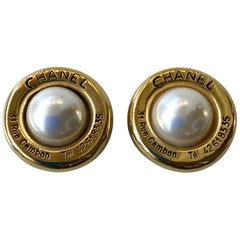Chanel Gold Tone Cambon 31 Rue Faux Pearl Clip On Earrings
