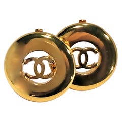 Chanel Gold Tone CC Earrings 15/16 Inch Diameter from the 1997 Spring Collection