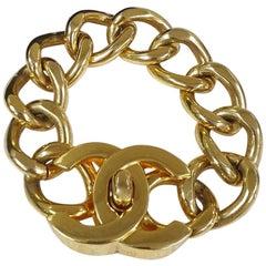 Chanel Gold Tone CC  Logo Chuncy Chain Bracelet