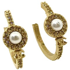 Chanel Gold Tone CC Loop Earrings with Rhinestones and Pearl