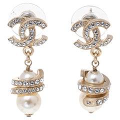 Chanel Gold Tone Crystal CC Pearl Drop Earrings