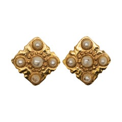 Chanel Gold-Tone Faux Pearl Clip-On Earrings