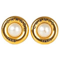 CHANEL gold tone & FAUX PEARL Earrings Earclips