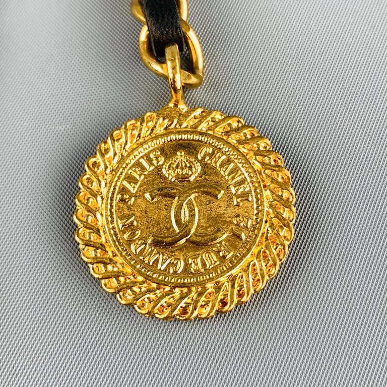 CHANEL Gold Tone Metal Leather Chain Triple 3 Pin Chatelaine Brooch - Season 28 For Sale 6
