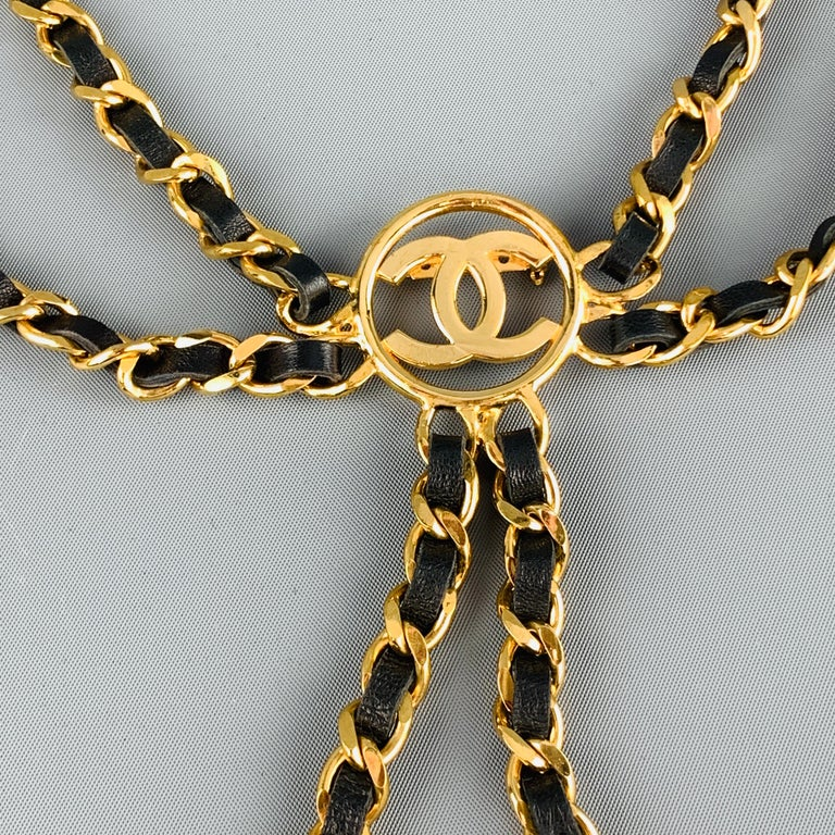 Women's CHANEL Gold Tone Metal Leather Chain Triple 3 Pin Chatelaine Brooch - Season 28 For Sale