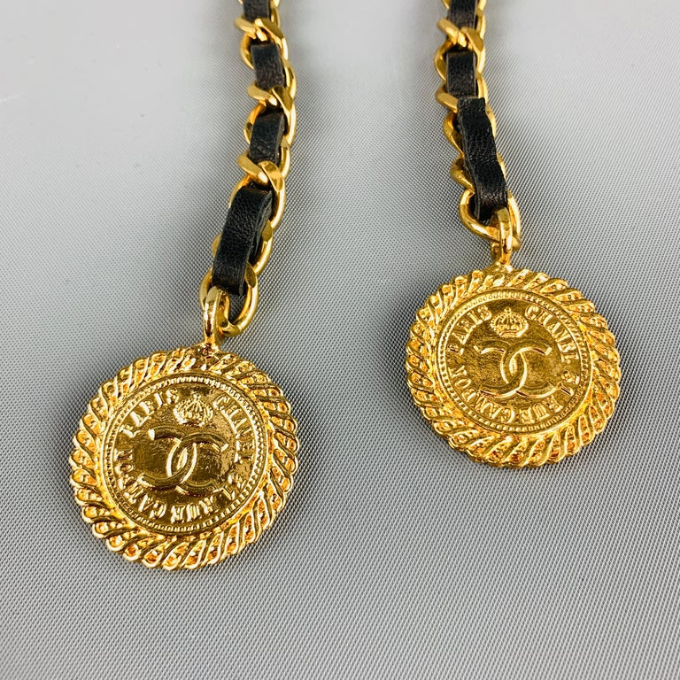 CHANEL Gold Tone Metal Leather Chain Triple 3 Pin Chatelaine Brooch - Season 28 For Sale 5