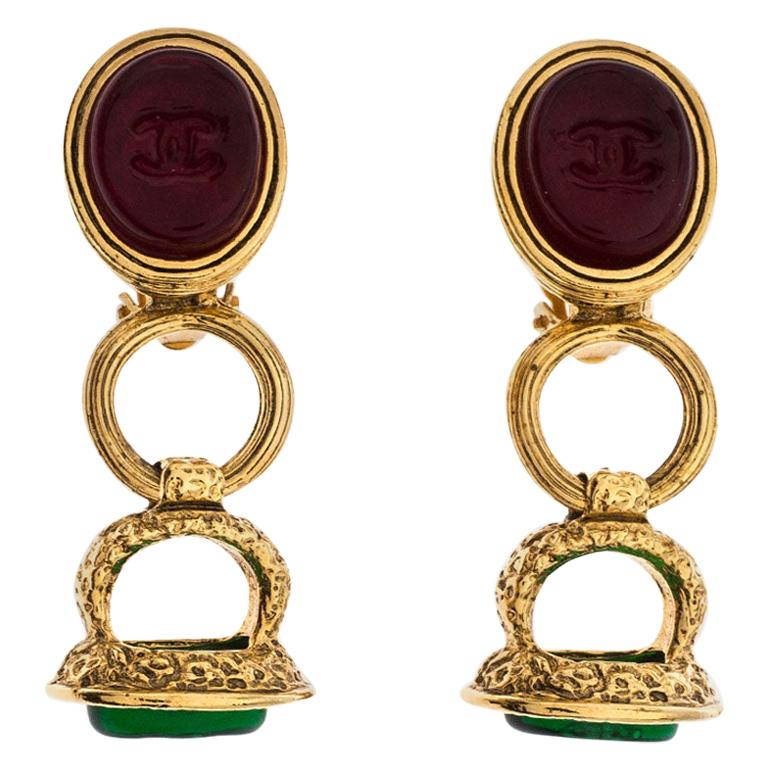 Chanel Gold Tone Red and Green Gripoix Stone Clip-on Earrings For Sale