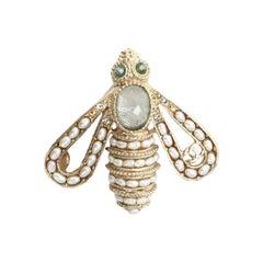 Chanel Gold Toned Bee Pin Brooch CC Logo