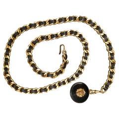 Vintage Chanel Gold Toned Lion Leather Chain Belt