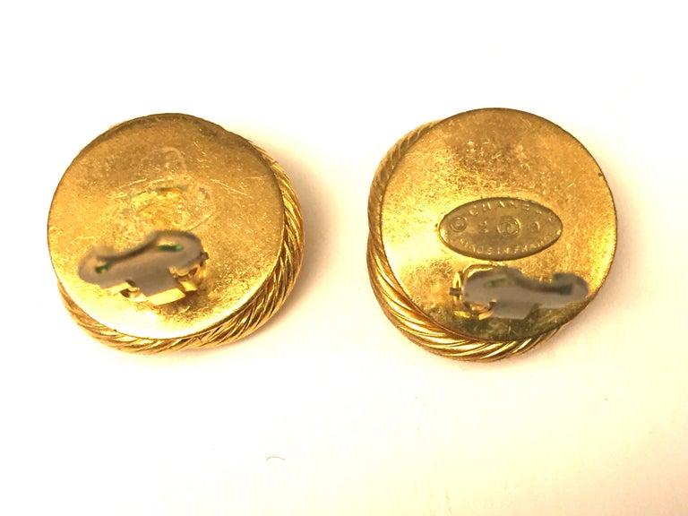 Women's Chanel gold toned pearl/rhinestones clip on earrings For Sale