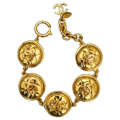 CHANEL Gold Toned Quilted Charm Chain Bracelet
