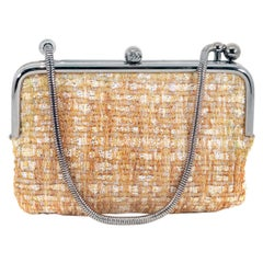 Chanel Gold Tweed Couture Collection Kiss Lock Mini Bag