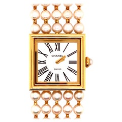 Chanel Gold Watch with Pearl Bracelet