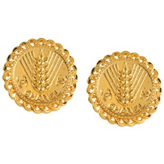 Chanel Gold Wheat Coin Earrings