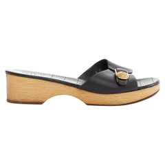 CHANEL gold wooden CC buckle black leather wooden platform clog sandals 8B EU38