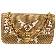Chanel Gold Woven Raffia Medium Classic Double Flap Bag