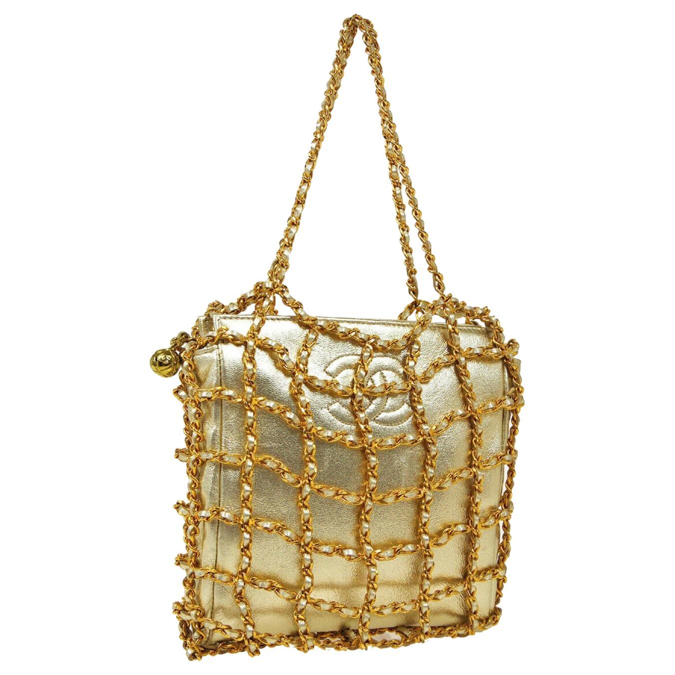 Chanel Gold Wraparound Chain Small Mini Top Handle Evening Pochette Shoulder Bag