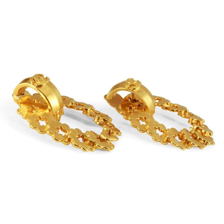 Women's Chanel Gold Wreath Earrings For Sale