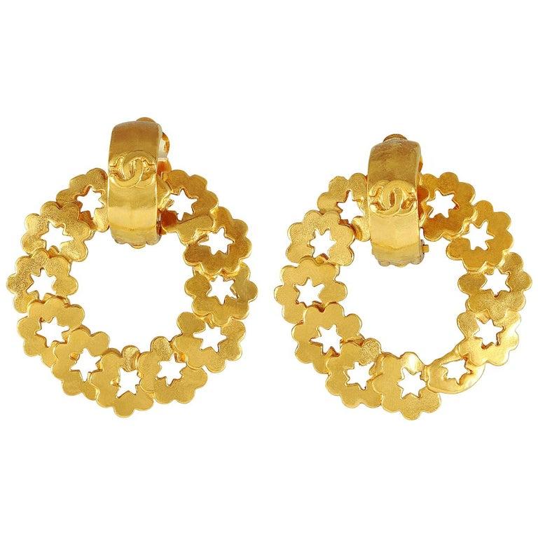 Chanel Gold Wreath Earrings For Sale