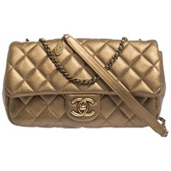 Chanel Golden Brown Quilted Leather Classic Single Flap Bag