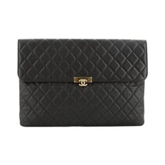 Chanel Golden Class O Case Clutch Quilted Caviar Large