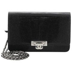 Chanel Golden Class Wallet On Chain Lizard Embossed Leather