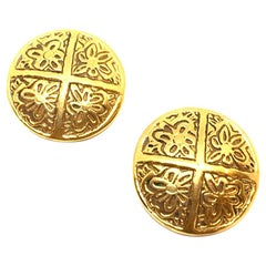 CHANEL Golden Round Clip On Earrings
