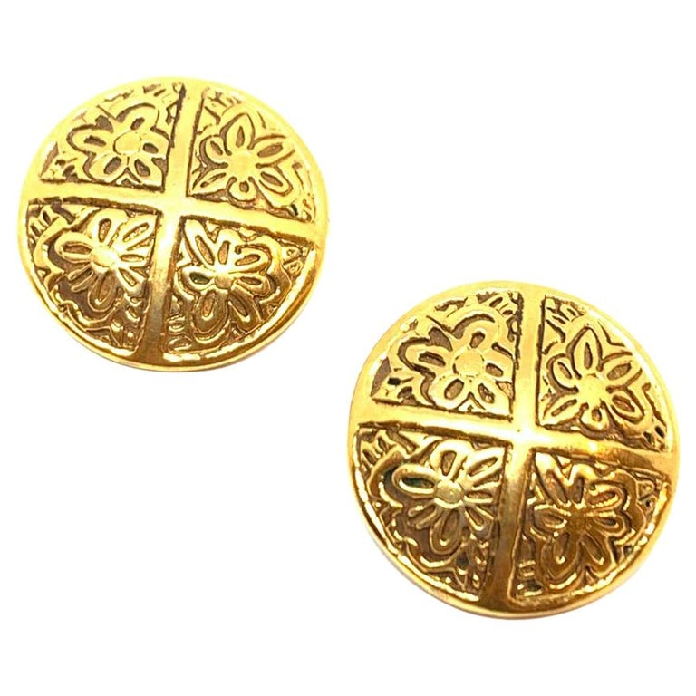 CHANEL Golden Round Clip On Earrings For Sale