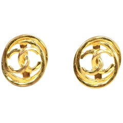 Chanel Goldtone CC Clip On Earrings