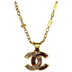 Chanel Goldtone Engraved Charm Link Necklace w. CC Pendant