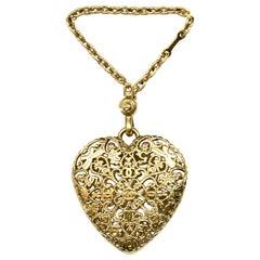 Chanel Goldtone Filigree Heart CC Bag Charm/ Keychain