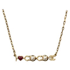 """Chanel Goldtone """"I Love Coco"""" Faux Pearl and Enamel Necklace"""