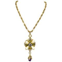 Chanel Goldtone Pearls, Gripoix, Amethyst Drop Necklace 2005