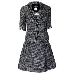 Chanel Gorgeous Black and White Lesage Braided Tweed Dress Jacket Suit