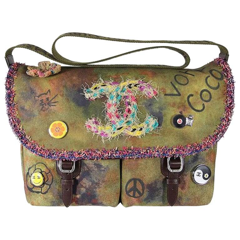 Chanel Graffiti Box 2015 On The Pavement Khaki Canvas Messenger Bag For Sale