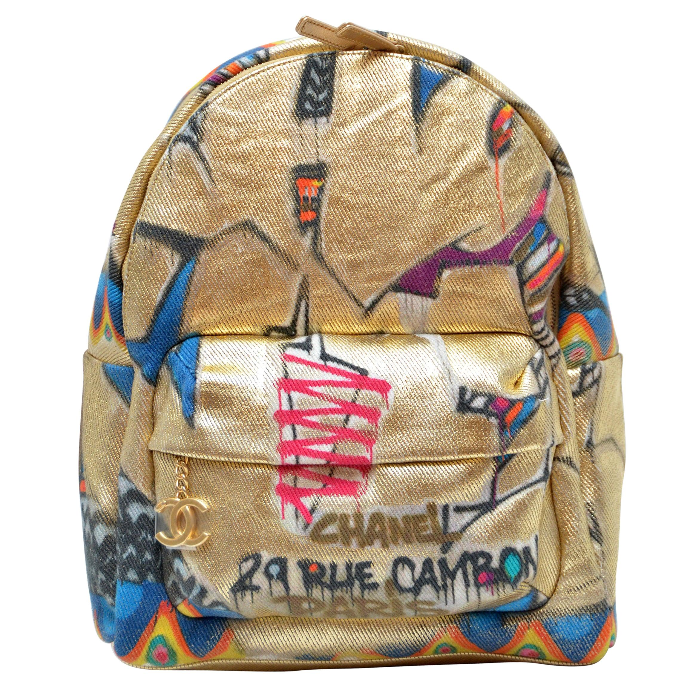 Chanel Graffiti Gold Backpack New With Tags For Sale At 1stdibs