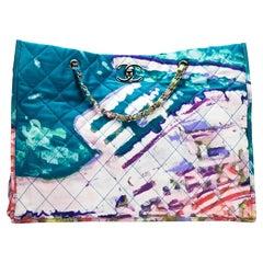 Chanel Graffiti Watercolor Limited Edition Tote Turquoise Nylon Beach Bag