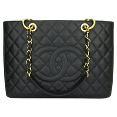CHANEL Grand Shopping Tote (GST) Bag Black Caviar with Gold Hardware 2010