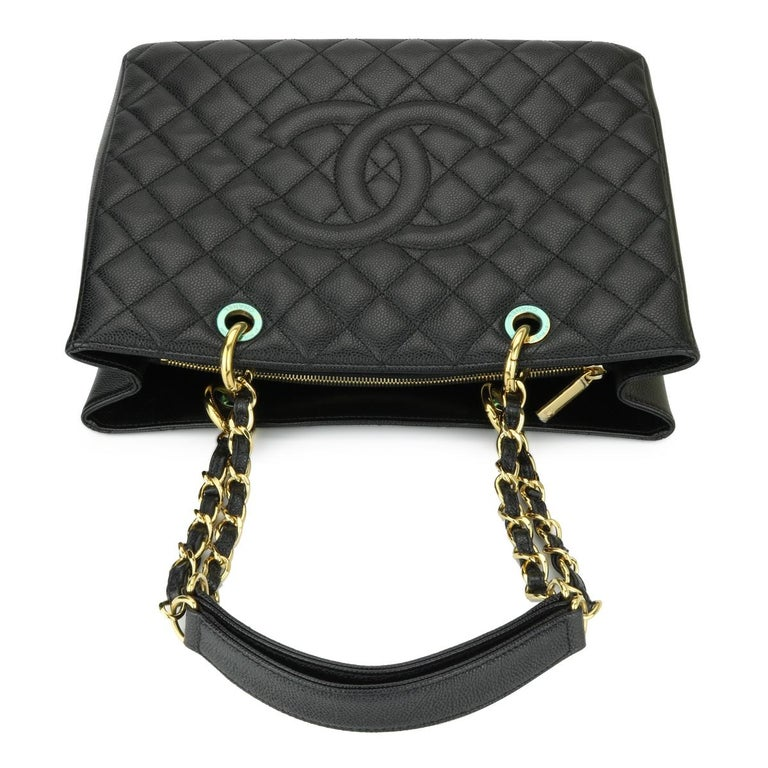CHANEL Grand Shopping Tote (GST) Bag Black Caviar with Gold Hardware 2011 For Sale 7