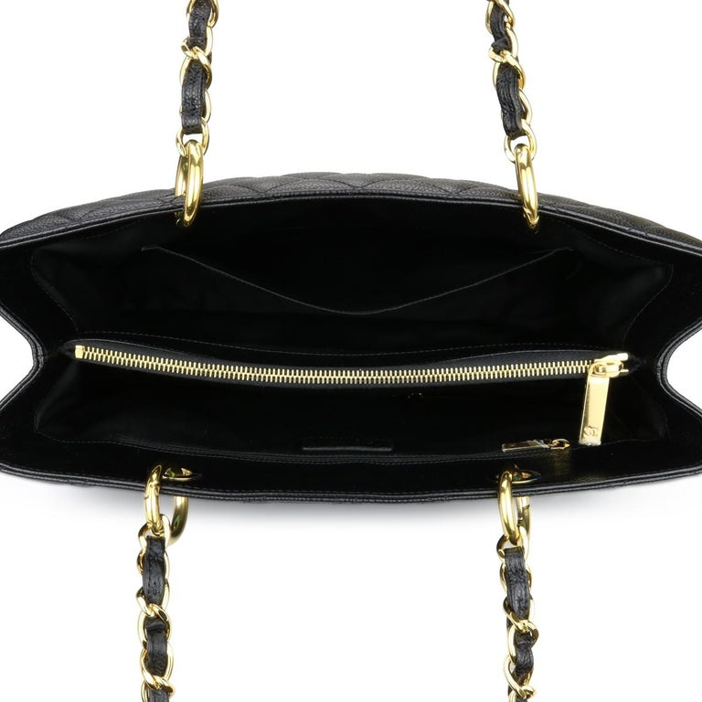 CHANEL Grand Shopping Tote (GST) Bag Black Caviar with Gold Hardware 2011 For Sale 8